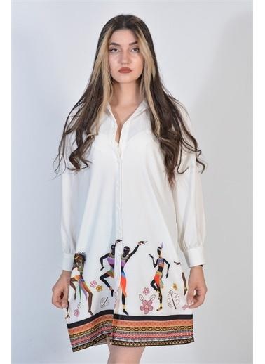 Zeren Kadın Beyaz Etnik Desenli Düğmeli Tunik Beyaz